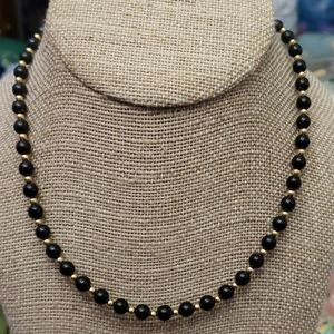 Vintage Minet Black & Gold Beaded Necklace